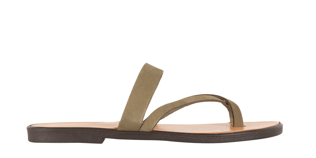 Greek sandals in green nubuck | Gaia