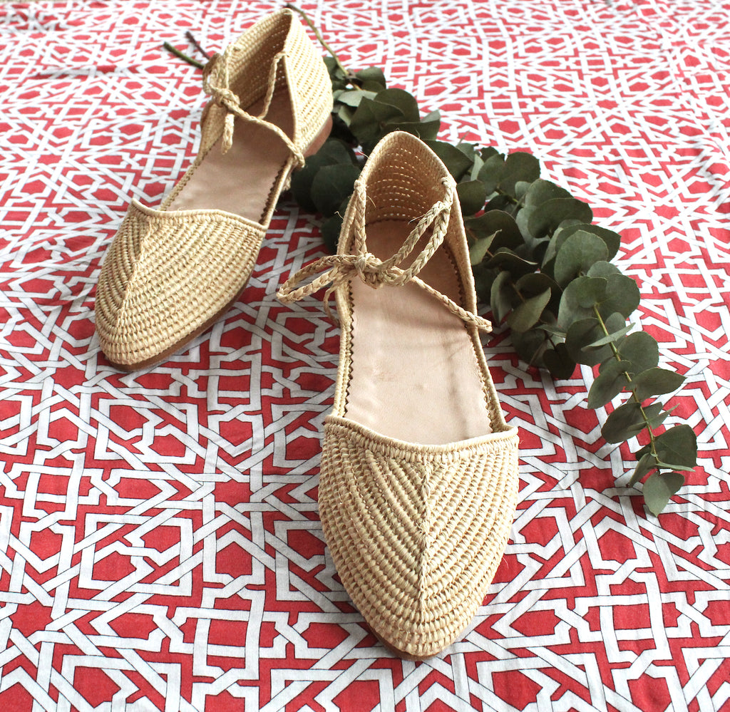 Raffia sandalen naturel | Carly
