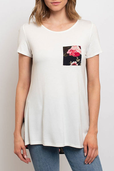 Where Flowers Bloom Top, Floral Color Block