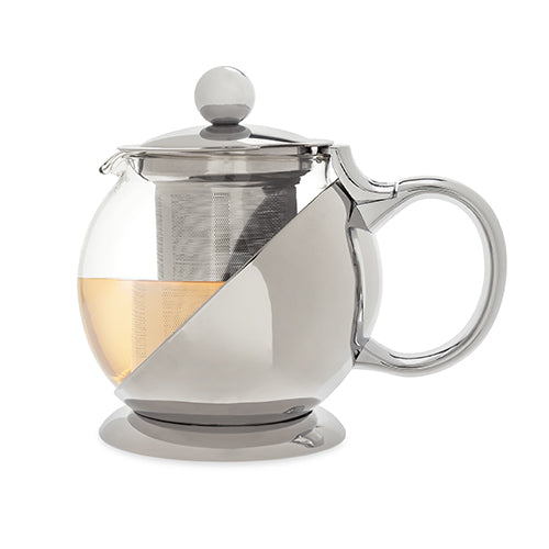 Shelby Stainless Steel Teapot & Infuser by Pinky - Cream and Sugar Coffee House & Brewing Co.