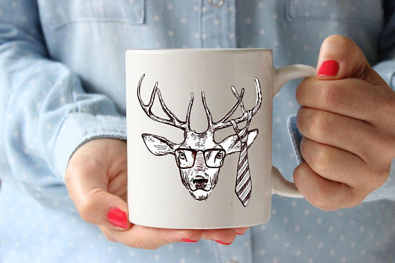 Deer Painting Coffee Lovers Gift Mug Coffee Mug - Cream and Sugar Coffee House & Brewing Co.