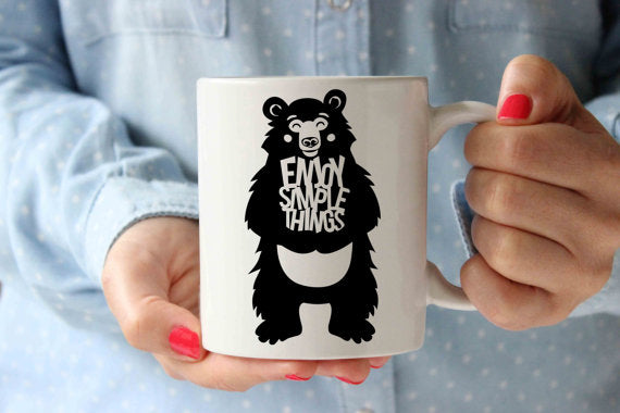 Enjoy Simple Things Bear Coffee Mug | Funny - Cream and Sugar Coffee House & Brewing Co.