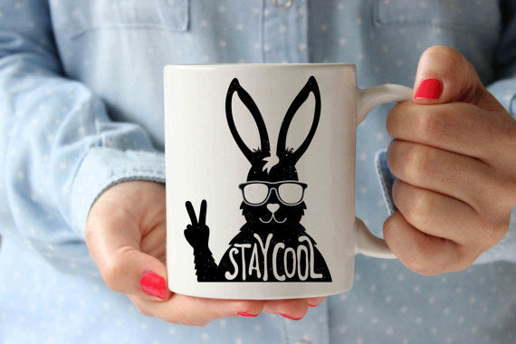 Stay Cool Rabbit Coffee Mug | Funny Designer Art - Cream and Sugar Coffee House & Brewing Co.