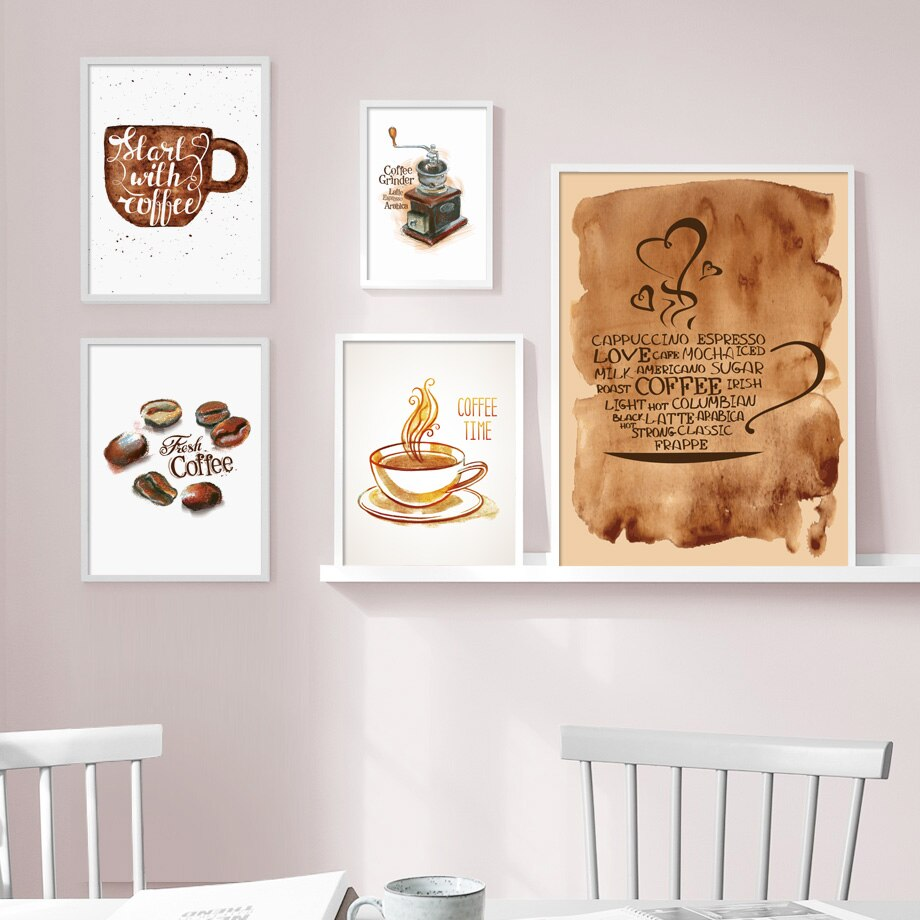 Watercolor Coffee Cup Wall Art Canvas - Cream and Sugar Coffee House & Brewing Co.