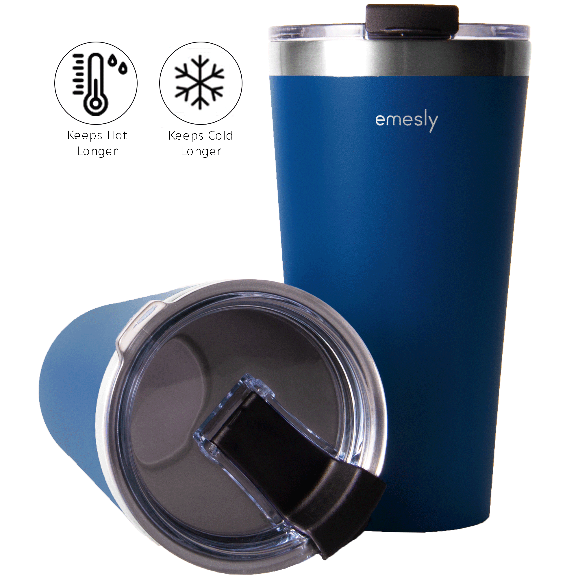 Insulated Coffee Tumblers (Set of 2); 16 Oz. (Navy Blue)