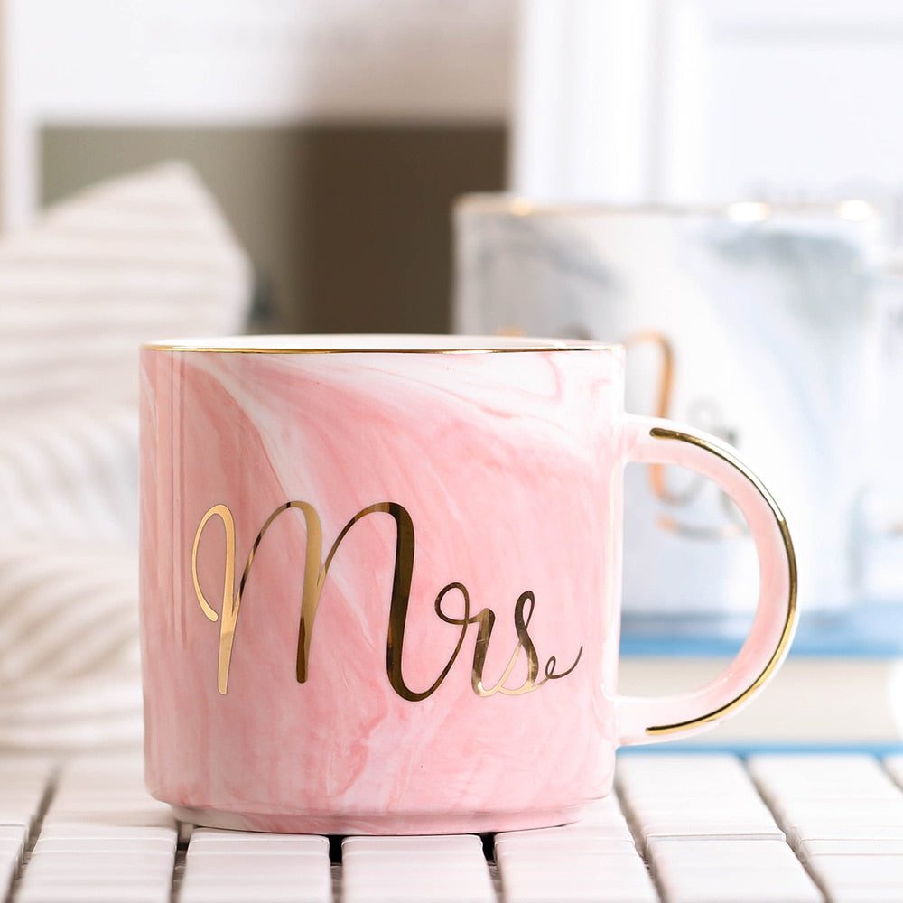 Mr. and Mrs. Marble Ceramic Coffee Mug 380ml - Cream and Sugar Coffee House & Brewing Co.