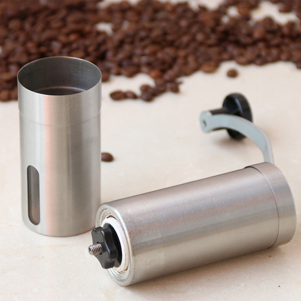 Silver Coffee Grinder Mini Stainless Steel Hand - Cream and Sugar Coffee House & Brewing Co.