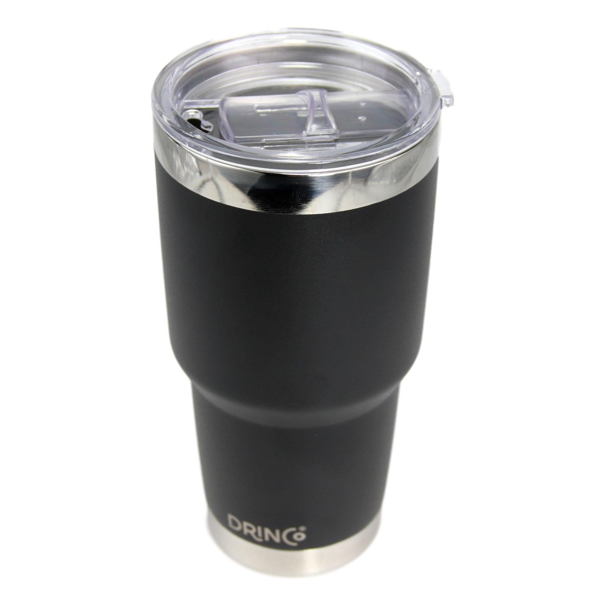 DRINCO® 30oz Insulated Tumbler Spill Proof Lid w/2 Straws (Black) - Cream and Sugar Coffee House & Brewing Co.