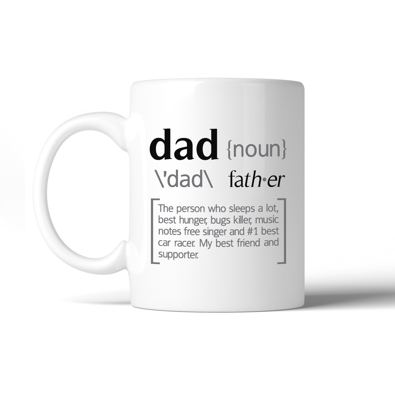 Dad Noun White Ceramic Coffee Mug Funny Design - Cream and Sugar Coffee House & Brewing Co.