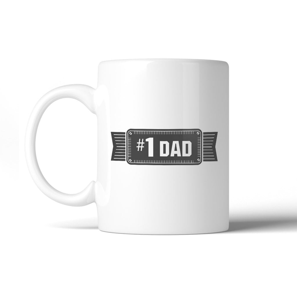 #1 Dad Ceramic Coffee Mug Unique Vintage Design - Cream and Sugar Coffee House & Brewing Co.
