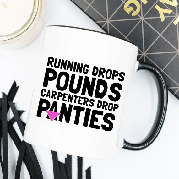11oz Coffee Mug - Running Drops Pounds, Carpenters - Cream and Sugar Coffee House & Brewing Co.