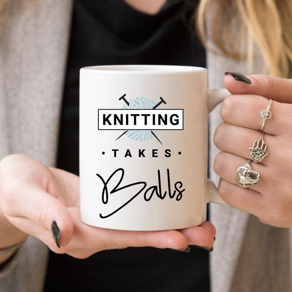 Knitting Takes Balls - Knitting Coffee Mug, - Cream and Sugar Coffee House & Brewing Co.