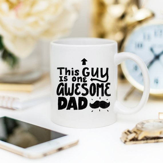 11oz Coffee Mug - This Guy Is One Awesome Dad - - Cream and Sugar Coffee House & Brewing Co.
