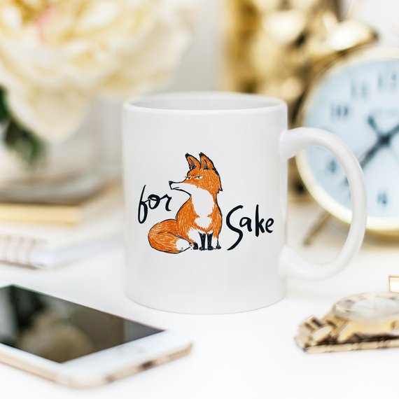 For Fox Sake - Ceramic Coffee Mug - Fox Coffee - Cream and Sugar Coffee House & Brewing Co.