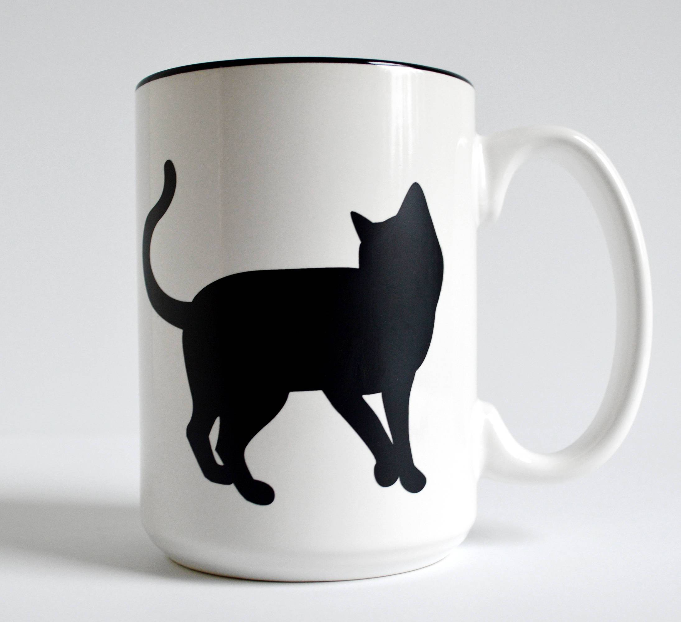 Black Cat Coffee Mug for Cat Lovers - Cream and Sugar Coffee House & Brewing Co.
