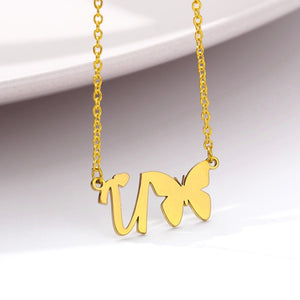 Gold A-Z Butterfly Initial Heart Necklace