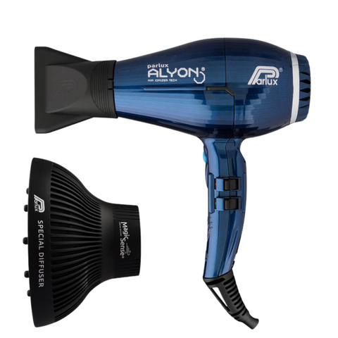 Parlux Alyon Air Ionizer Tech Hair Dryer Midnight Blue & Diffuser