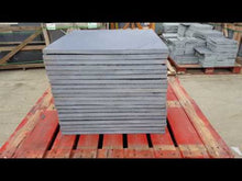 Load and play video in Gallery viewer, video showing black limestone 600x600 slabs on pallet