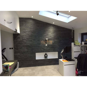 Stone Wall Cladding - Split Face Tiles | Black (Grey) | 360 X 100 | As Low As £26.74/m2