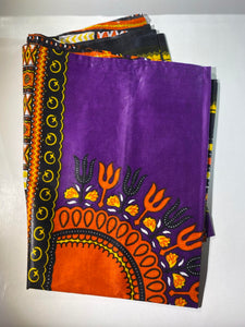African Head Wrap: Purple and Orange.