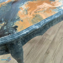 Load image into Gallery viewer, Paint Pour French Provincial Oval Blue/ Gold Coffee Table