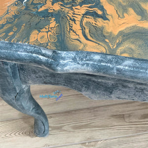 Paint Pour French Provincial Oval Blue/ Gold Coffee Table