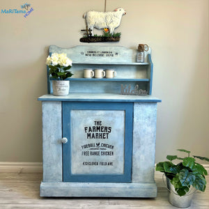 MaRiTama HOME Farmhouse blue and white kitchen dining cabinet