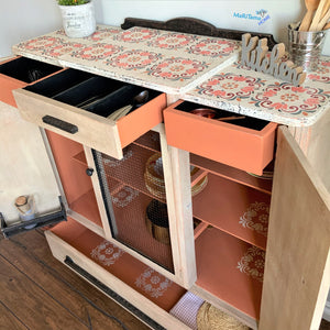 Antique Farmhouse Kitchen / Dining Terracotta Cabinet - Furniture MaRiTama HOME