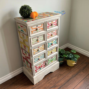 Antique Hand-Carved Thai Eclectic Boho Multi-colored Chest of Drawers - Furniture MaRiTama HOME