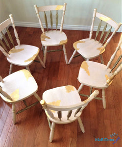 Antique Refinished Rose and Gold Dining Set (Table with extension leaf & 6 chairs) - Furniture MaRiTama HOME