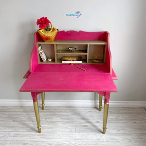 Antique Shocking Pink and Gold Writing Table - Furniture MaRiTama HOME