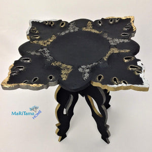 Black with Gold and Silver Decorative Accent Table - Furniture MaRiTama HOME