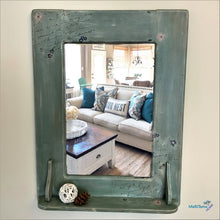 Load image into Gallery viewer, Blue Grey Wooden Farmhouse Mirror - Home Decor MaRiTama HOME