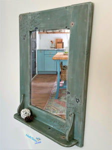 Blue Grey Wooden Farmhouse Mirror - Home Decor MaRiTama HOME