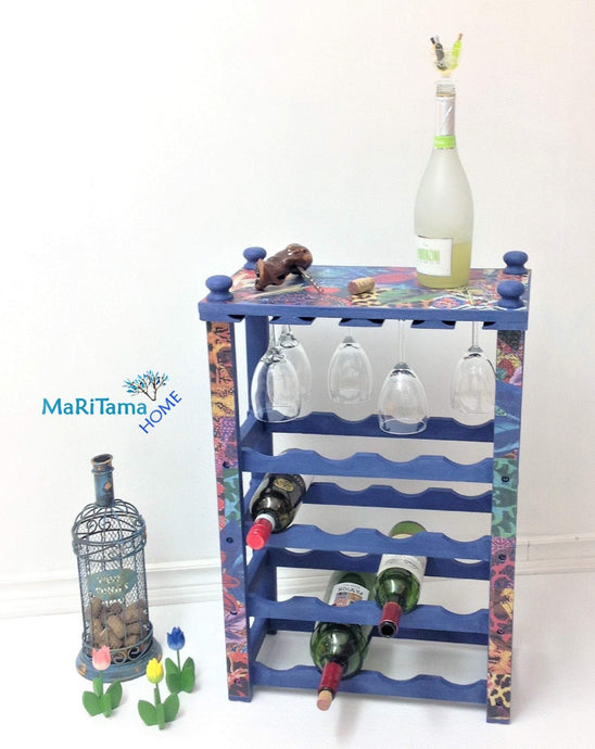 MaRiTama HOME boho blue bar furniture wine rack