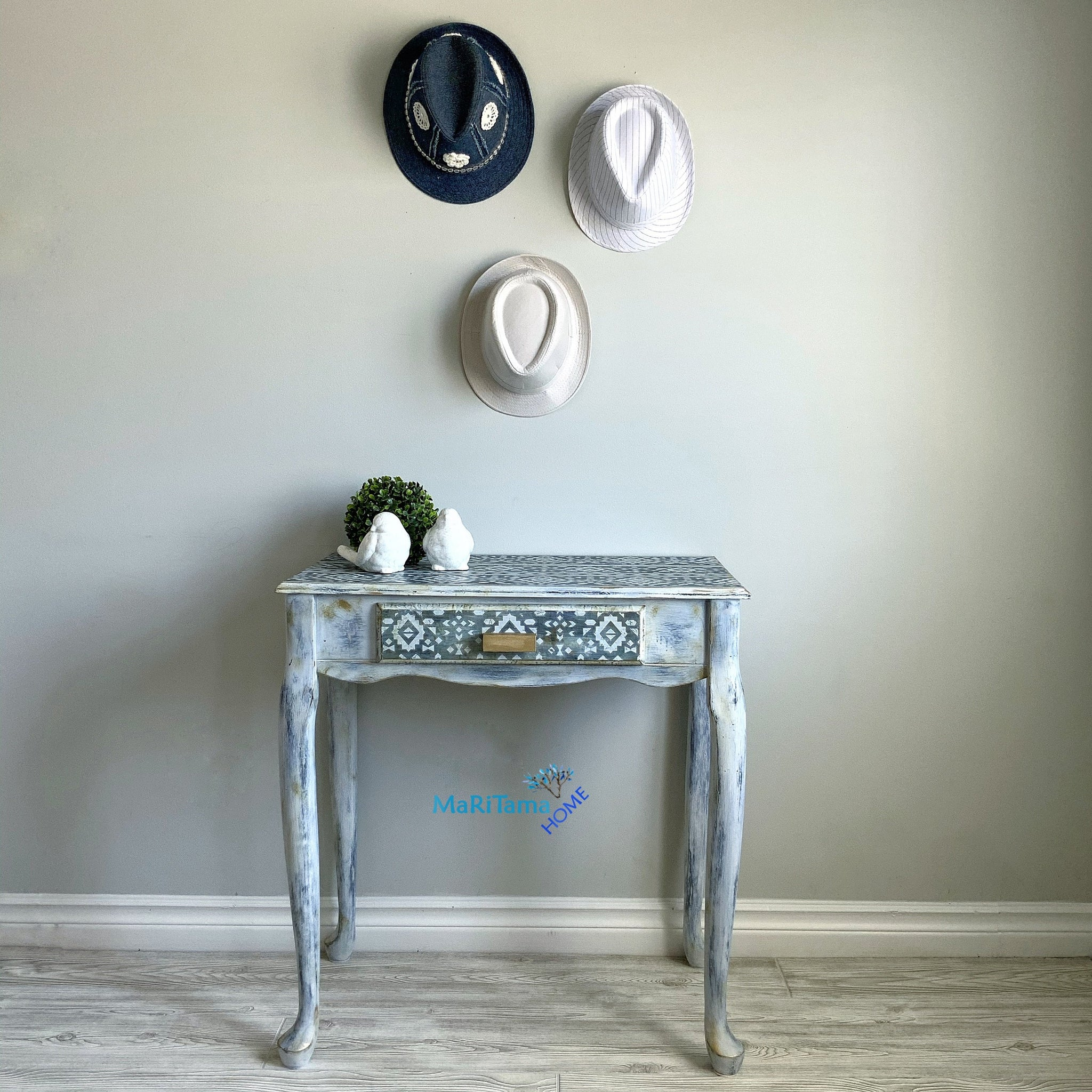 Boho Shabby Chic Blue And White Vanity Entryway Table Desk Maritama Home