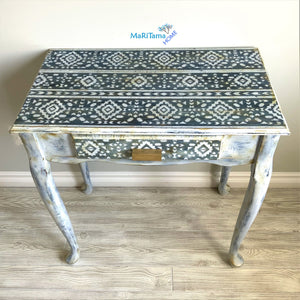 Boho Shabby Chic Blue and White Vanity/ Entryway Table / Desk - Furniture MaRiTama HOME