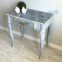 Load image into Gallery viewer, Boho Shabby Chic Blue and White Vanity/ Entryway Table / Desk - Furniture MaRiTama HOME