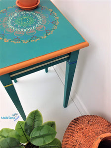 Boho Style Turquoise-Green Accent Side / End Table - Furniture MaRiTama HOME