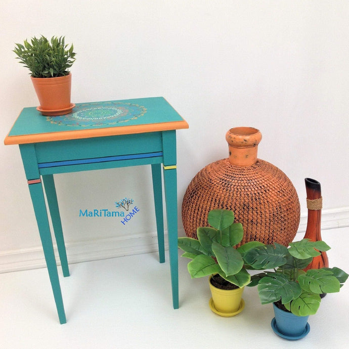 MaRiTama HOME Boho turquoise green side end accent table