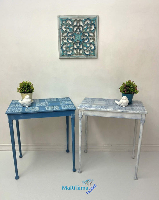 MaRiTama HOME Boho blue and white tv dinner work table set desk
