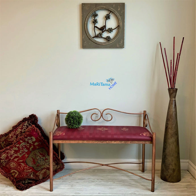 MaRiTama HOME antique burgundy and copper bench