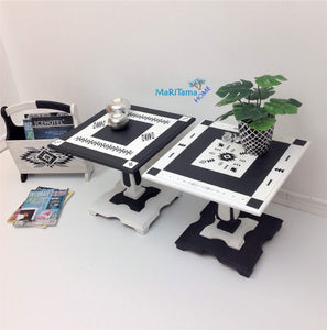 MaRiTama HOME contemporary boho tribal black and white side end accent table set