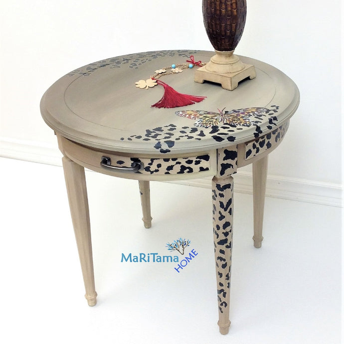Contemporary Round Cheetah Accent Table - Furniture MaRiTama HOME