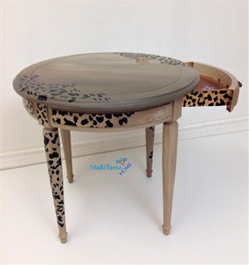 MaRiTama HOME Round brown contemporary cheetah leopard accent table