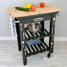 Load image into Gallery viewer, Dark Green Wooden Top Kitchen Island Cart - Furniture MaRiTama HOME