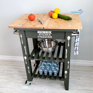 Dark Green Wooden Top Kitchen Island Cart - Furniture MaRiTama HOME