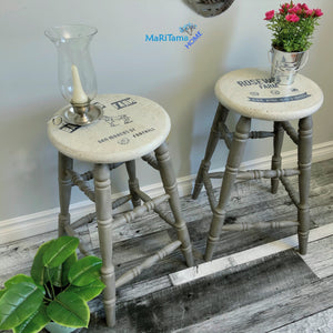 Grey and White Farmhouse Wooden Bar Stool Set - Furniture MaRiTama HOME