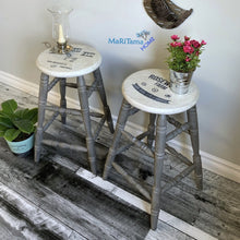 Load image into Gallery viewer, Grey and White Farmhouse Wooden Bar Stool Set - Furniture MaRiTama HOME
