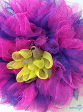 Load image into Gallery viewer, MaRiTama HOME handmade flower tulle pink purple burlap wreath